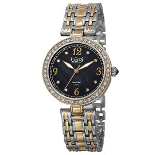 Burgi Women's Quartz Dial Swarovski Accented Bezel Two-Tone Bracelet Watch