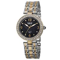 Burgi Women's Quartz Dial Swarovski Accented Bezel Bracelet Watch with FREE Bangle