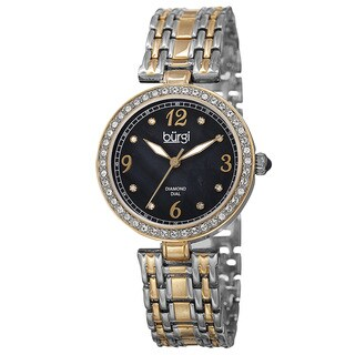 Burgi Women's Quartz Dial Swarovski Element Accented Bezel Bracelet Watch