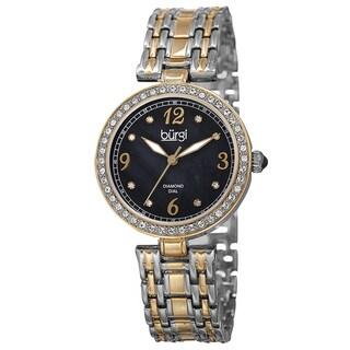 Burgi Women's Quartz Dial Swarovski Accented Bezel Bracelet Watch (4 options available)