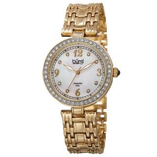 Burgi Women's Quartz Dial Swarovski Accented Bezel Gold-Tone Bracelet Watch - GOLD
