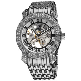 Joshua & Sons Men's Automatic Skeleton Crystal Silver-Tone Black Bracelet Watch