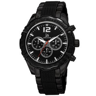 Joshua & Sons Men's Swiss Quartz Multifunction Dual-Time Black Bracelet Watch