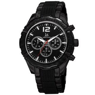 Joshua & Sons Men's Swiss Quartz Multifunction Dual-Time Black Bracelet Watch