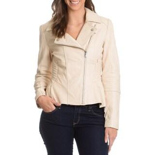 Steven Women's Asymmetrical Zipper Leather Jacket