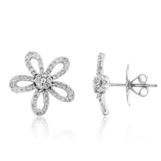18k White Gold 3/4ct TDW Diamond Flower Earrings