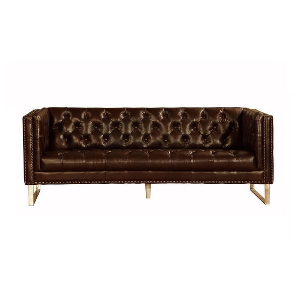 Lazzaro Leather Bordeaux Sofa