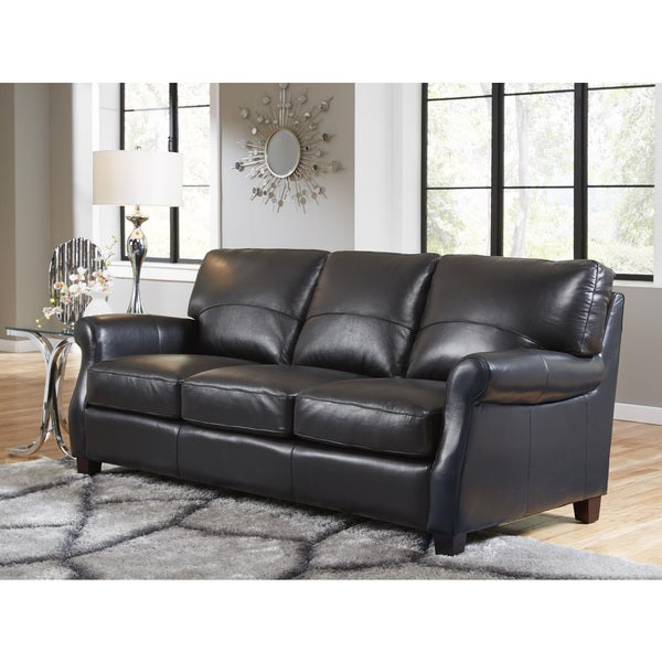 Shop Lazzaro Leather Carlisle Black Sofa Free Shipping