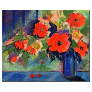 Sheila Golden 'Red Flowers' 18x24 Canvas Wall Art