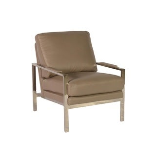 Lazzaro Leather Adams Stainless Steel Arm Chair