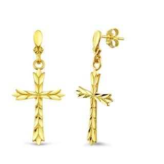 10k Yellow Gold Diamond-cut Cross Earrings