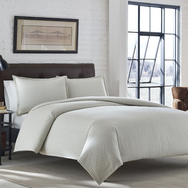 Eddie Bauer Wallace Stripe Ivory Flannel Duvet Cover Set