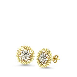 10k Two-tone Gold Diamond-cut Flower Stud Earrings