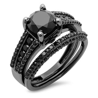 Elora Black-plated Silver 2 7/8ct TDW Round Black Diamond Vintage Bridal Ring Set