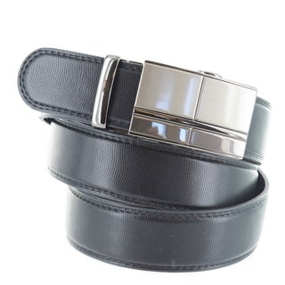 Faddism Men's Black Genuine Leather Belt with Gun Metal Buckle
