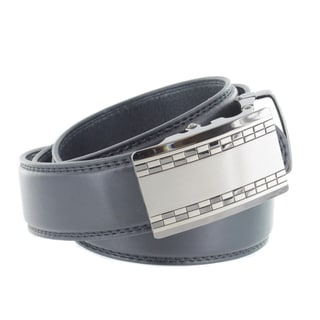 Faddism Men's Black Genuine Leather Belt with Check Gun Metal Buckle