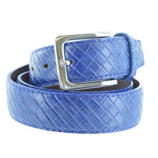 Faddism Unisex Weave Embossed Genuine Leather Belt