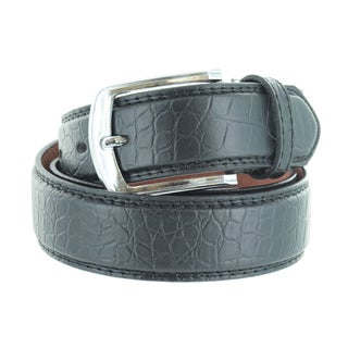 Faddism Unisex Croc Embossed Genuine Leather Belt (Option: Yellow)