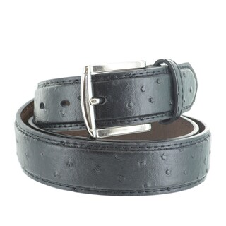 Faddism Men's Ostrich Embossed Genuine Leather Belt