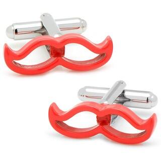 Coral Enamel Moustache Cufflinks