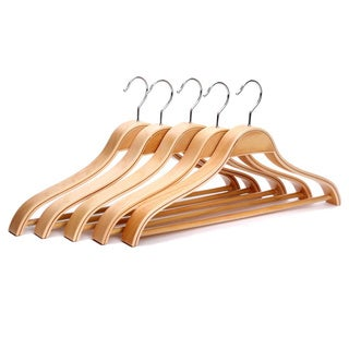 J.S. Hanger Solid Wooden Suit Hangers with Chrome Hooks (Pack of 5)