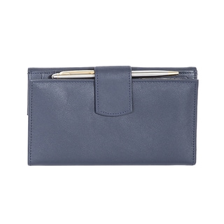 Scully Navy Leather Clutch Wallet