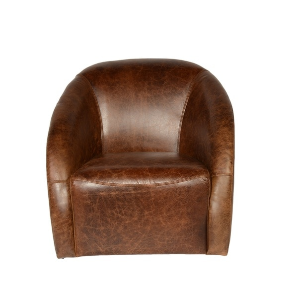 Shop Lazzaro Leather Maryland Coco Brompton Swivel Tub Chair - Free ...