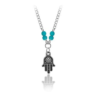 Pearlyta Sterling Silver Children's Hamsa Hand Blue Bead Anklet