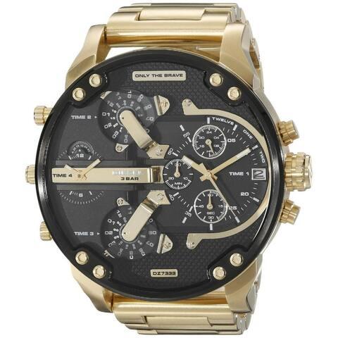 Diesel Men's DZ7333 'Mr. Daddy 2.0' Chronograph 4 Time Zones Gold-Tone Stainless Steel Watch
