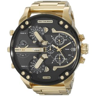 Diesel Men's DZ7333 'Mr. Daddy 2.0' Chronograph 4 Time Zones Gold-Tone Stainless Steel Watch