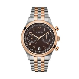 Bulova Men's 96B248 Stainless Steel Two Tone Rose Gold Tone Black Dial 30M Water Resistance Watch