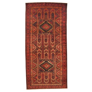 Herat Oriental Afghan Hand-knotted Tribal Balouchi Red/ Brown Wool Rug (5' x 10'4)