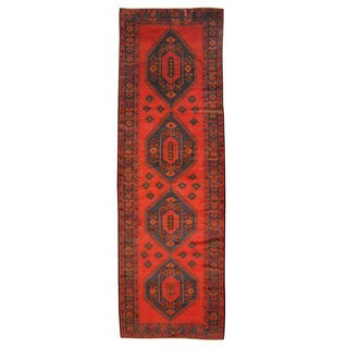 Herat Oriental Afghan Hand-knotted Tribal Balouchi Wool Runner (4'5 x 13'5)