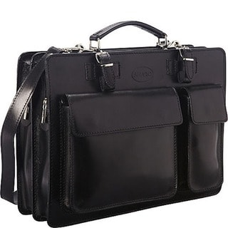 Sharo Black Italian Leather 15-inch Laptop Briefcase