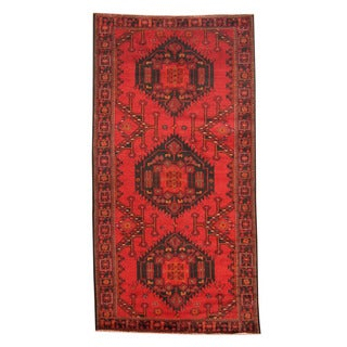Herat Oriental Afghan Hand-knotted Tribal Balouchi Red/ Navy Wool Rug (4'5 x 9'9)