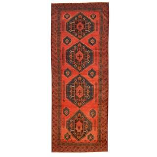 Herat Oriental Afghan Hand-knotted Tribal Balouchi Wool Rug (4'10 x 12'10) - 4'10 x 12'10