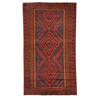 Herat Oriental Afghan Hand-knotted Tribal Balouchi Navy/ Red Wool Rug (5'7 x 10')