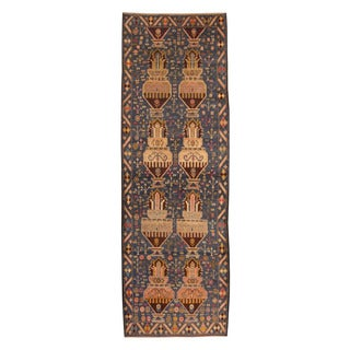 Herat Oriental Afghan Hand-knotted Tribal Balouchi Navy/ Beige Wool Rug (3' x 9')