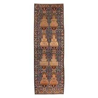 Handmade Herat Oriental Afghan Tribal Balouchi Navy/ Beige Wool Rug (Afghanistan) - 3' x 9'