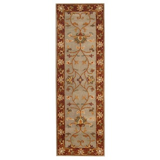 Herat Oriental Indo Hand-tufted Mahal Light Blue/ Rust Wool Rug (2'7 x 8')