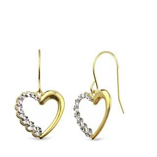 10k Yellow Gold Diamond-cut Heart Dangle Earrings
