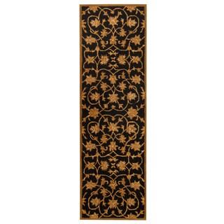 Herat Oriental Indo Hand-tufted Tibetan Black/ Beige Wool Rug (2'3 x 7'6)