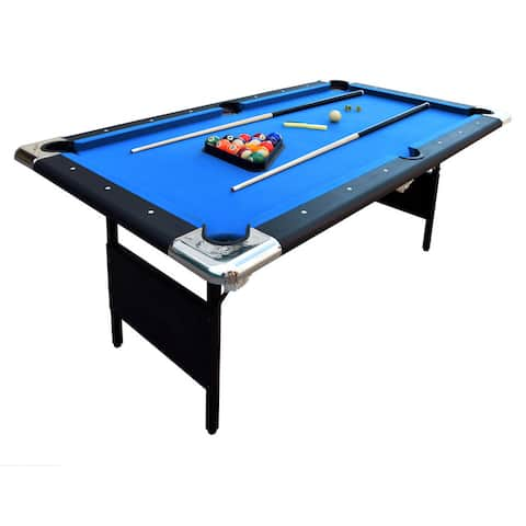 Fairmont Portable 6-Ft Pool Table for Families with Easy Folding for Storage, Includes Balls, Cues, Chalk