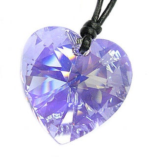 Queenberry Clear Crystal Heart Charm AB Leather Cord Choker Necklace