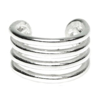 Queenberry Sterling Silver Round Split Ear Cuff Wrap