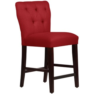 Skyline Furniture Tufted Hourglass Counter Stool in Linen Antique Red