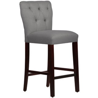 Skyline Furniture Tufted Hourglass Barstool in Linen Grey