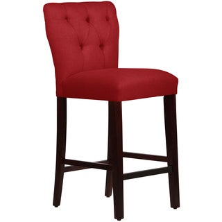Skyline Furniture Tufted Hourglass Barstool in Linen Antique Red