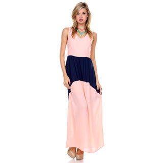 Stanzino Women's V neck Colorblock Chiffon Maxi Dress