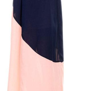 Stanzino Women's V neck Colorblock Chiffon Maxi Dress